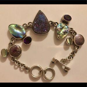 Jewelry - Vintage Druzy, Amethyst, Pearl & Abalone Bracelet